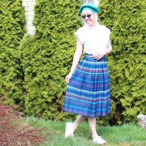 Vintage Striped Pleated Midi Skirt